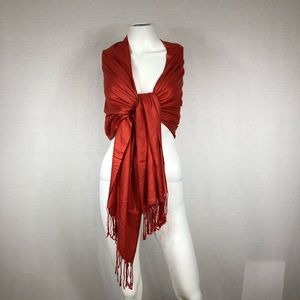 Copper red scarf or wrap with tassels